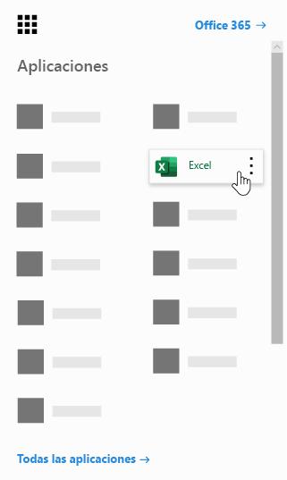 Iniciador de aplicaciones de Office 365 con la aplicación Excel resaltada