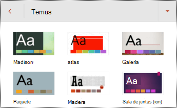 Temas para diapositivas en PowerPoint para Android.
