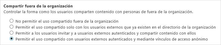 Opciones de uso compartido fuera de su organización
