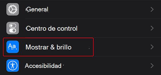 """La fila """"Mostrar & brillo"""" en la aplicación configuración"""