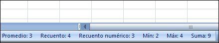 Visualización en la barra de estado de los cálculos y las cuentas de las celdas seleccionadas