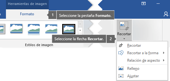 Botón Recortar de la pestaña Formato en Herramientas de imagen