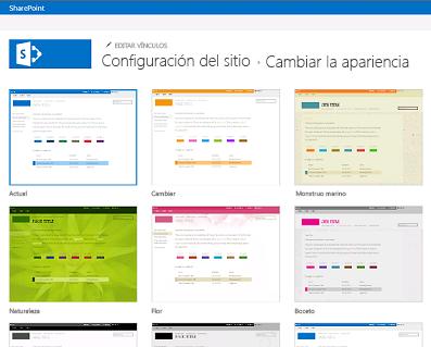 Ejemplo de diseños disponibles para personalizar el sitio de la comunidad