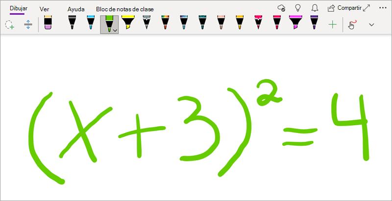 Escribir una ecuación matemática en OneNote para Windows 10