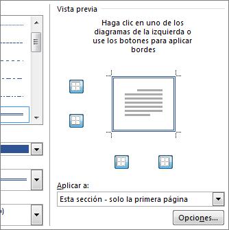 Cuadro Vista previa que muestra los bordes de página