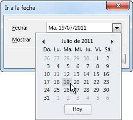 cuadro de diálogo Ir a fecha con Navegador de fechas