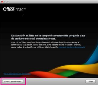 Captura de pantalla de la opción Activar por teléfono de Office para Mac