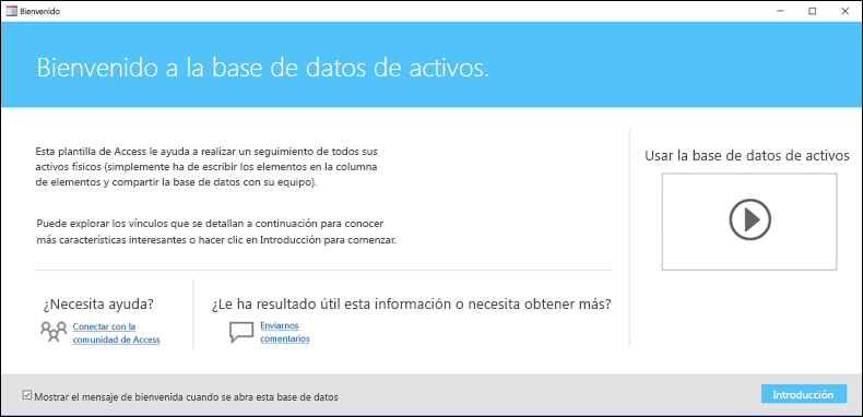 Formulario de introducción en una plantilla de base de datos de activos de Access