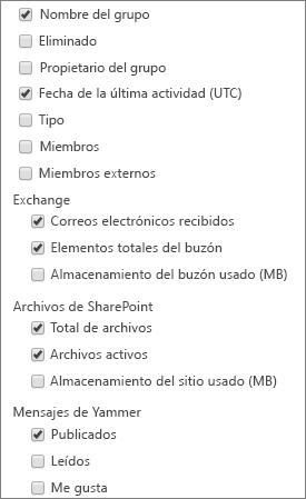 informe de grupos de Office 365: elegir columnas