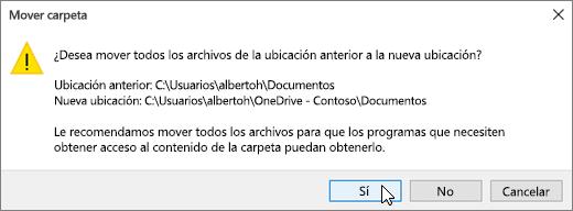 Captura de pantalla que muestra la advertencia que aparece al hacer clic en Seleccionar carpeta en Seleccione un cuadro de diálogo de destino.
