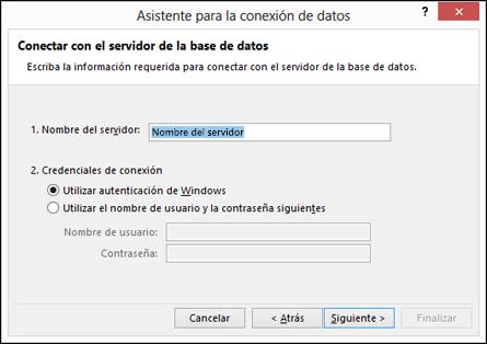 Asistente para la conexión de datos > conectar con el servidor