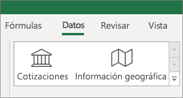 Pestaña Datos que muestra los tipos de datos Cotizaciones y Geografía