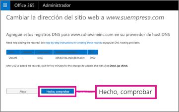 Agregue estos registros DNS y, a continuación, seleccione Paso finalizado, comprobar