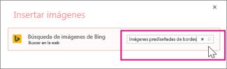 Buscar imágenes prediseñadas de borde en Bing