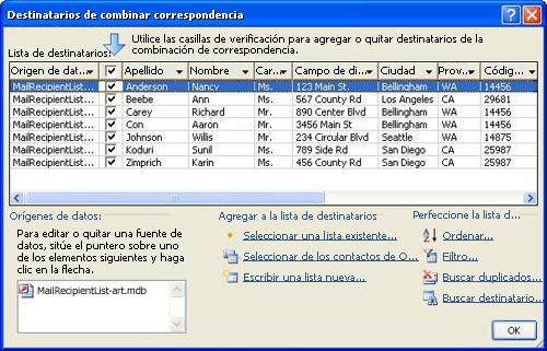 Lista de correo básica en el cuadro de diálogo Destinatarios de combinar correspondencia