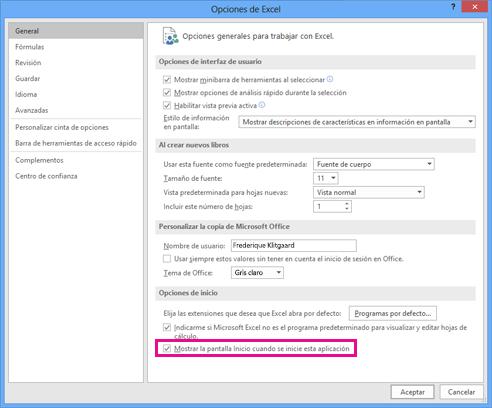 Opciones de inicio en el cuadro de diálogo Opciones de Excel