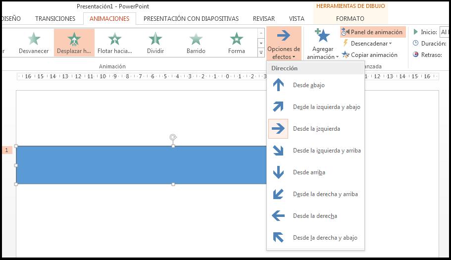 Configuración de un efecto específico de la barra de progreso.