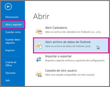 Abrir un archivo de datos de Outlook