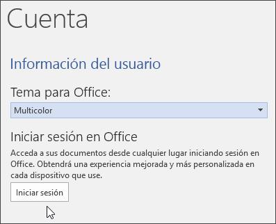 Captura de pantalla que muestra Información de cuenta en Word
