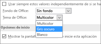 Menú desplegable Tema de Office, opciones de tema Multicolor, Gris oscuro y Blanco