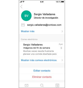 Página de contacto con el texto Eliminar contacto en rojo