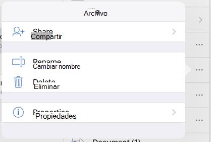 Cambiar el nombre de archivo, puntee en el botón 3 puntos y seleccione Cambiar nombre