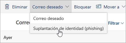 Una captura de pantalla del botón Suplantación de identidad en el menú desplegable de No es correo no deseado