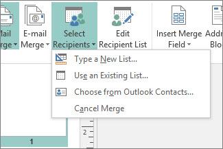 Opciones del botón Seleccionar destinatarios de Envíos