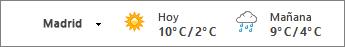 Barra del tiempo con la temperatura en Celsius