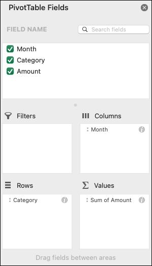 Ejemplo del cuadro de diálogo de la lista de campos de tablas dinámicas de Excel