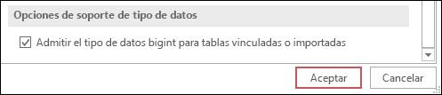 Captura de pantalla de la opción seleccionada de compatibilidad del tipo bigint para tablas importadas o vinculadas en las opciones de Access.