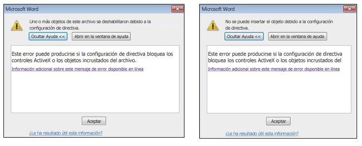 Mensaje de error de objeto incrustado y control ActiveX