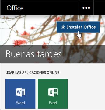 Captura de pantalla en la que se muestra el botón Instalar Office
