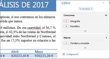 Panel Editor en el que se muestran problemas de corrección que es necesario revisar en un documento de Word abierto