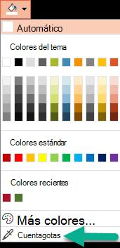 El cuentagotas se encuentra en el menú color, en el panel dar formato al fondo.