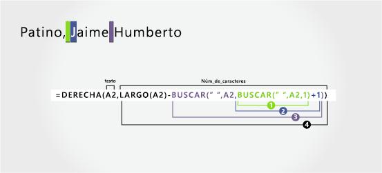 Fórmula para separar un apellido seguido de un nombre y un segundo nombre