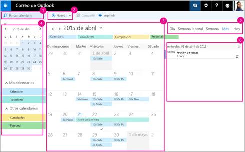 Use el calendario para administrar las reuniones y otros eventos.