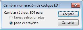 Imagen del cuadro de diálogo Cambiar numeración de códigos EDT