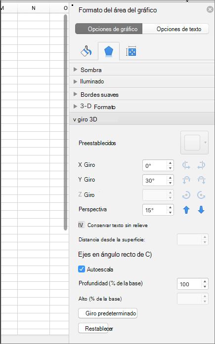 Panel de formato del área del gráfico