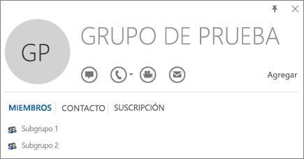 Captura de pantalla de la pestaña Miembros de la tarjeta de contacto de Outlook para el grupo denominado Grupo de pruebas. Subgrupo 1 y Subgrupo 2 se muestran como miembros.
