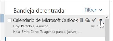 Captura de pantalla de la opción anclar en la lista de mensajes