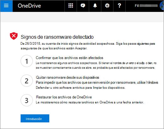 Captura de pantalla de los signos de ransomware detectado en pantalla en el sitio web de OneDrive
