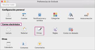 En Correo electrónico, haga clic en Firmas.