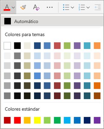 Opciones del menú color de fuente en OneNote para la web