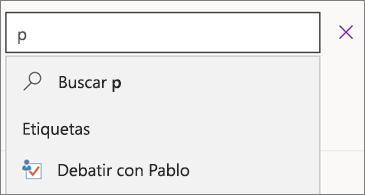 Cuadro de búsqueda con p donde se muestra Debate con Pablo