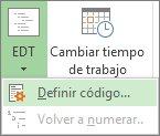 Imagen de la opción Definir código del botón EDT.