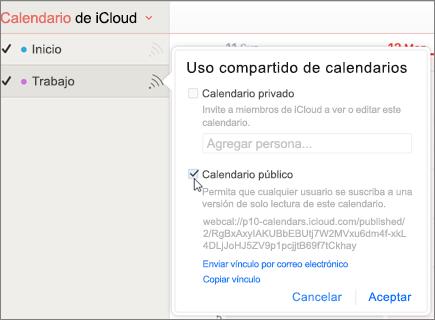 Configuración del calendario público en iCloud