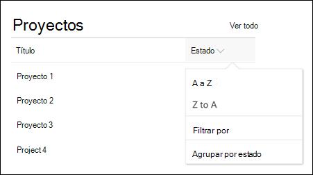 Elemento web de lista con ordenación, filtro y menú de grupo
