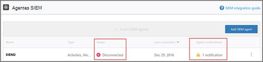Vea un error de connecetion o de estado de desconectado con el agente SIEM.