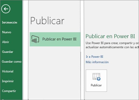 Pestaña Publicar en Excel 2016 que muestra el botón Publicar en Power BI